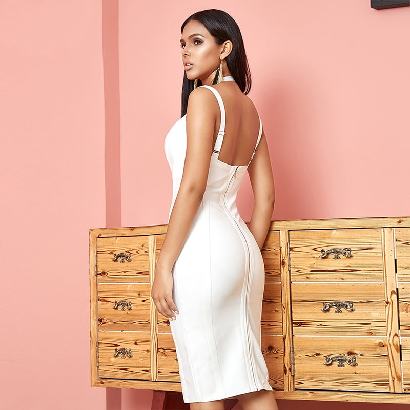 Halter V-Neck Spaghetti Strap Bodycon Bandage Dress. (3 Colors Available)