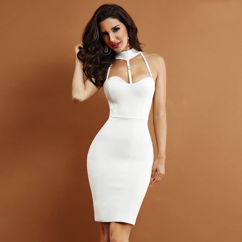 Bodycon Halter Hollow Out Bandage Dress. (2 Colors Available)