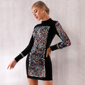 O-Neck Long Sleeve Sequined Runway Dress.