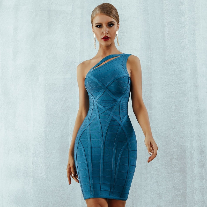 Hollow Out One Shoulder Bodycon Bandage Dress.