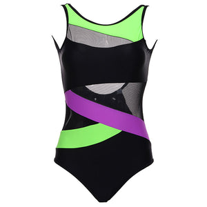 Solid Patchwork Soft Cup One Piece Swimsuit. (Striped U-Shaped Swimsuit - 4 Colors Available)