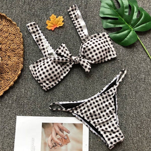 Halter Front Knot Top Two Piece Plaid Bikini. (3 Colors Available)