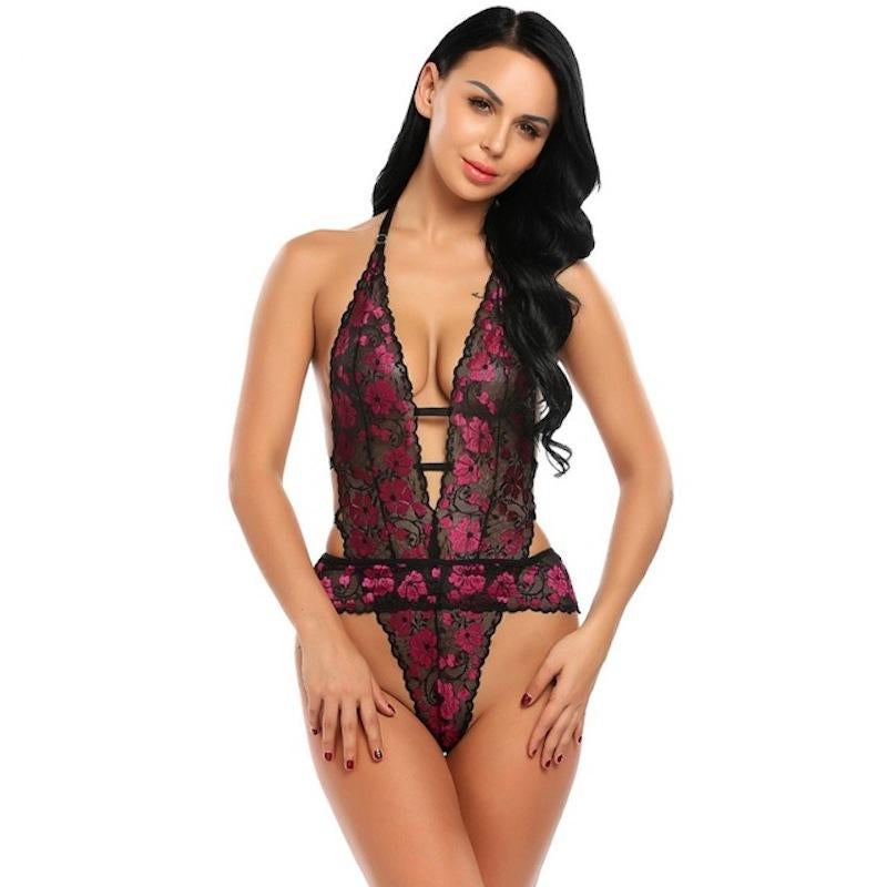 Halter Lace Floral One Piece Lingerie Teddy. (4 Colors Available)