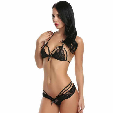 Hollow Out Lace Lingerie Two Piece Set. (5 Colors Available)