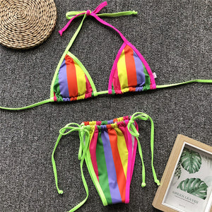 Halter Micro Triangle Push Up Two Piece Neon Bikini. (3 Colors Available)