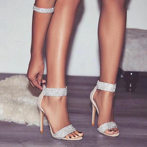 Crystal Embellished Ankle Strap Cut-Out Heeled Sandals. (2 Colors Available)