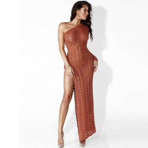 High Split One Shoulder Hollow Out See Through Knitted Dress. (3 Colors Available)