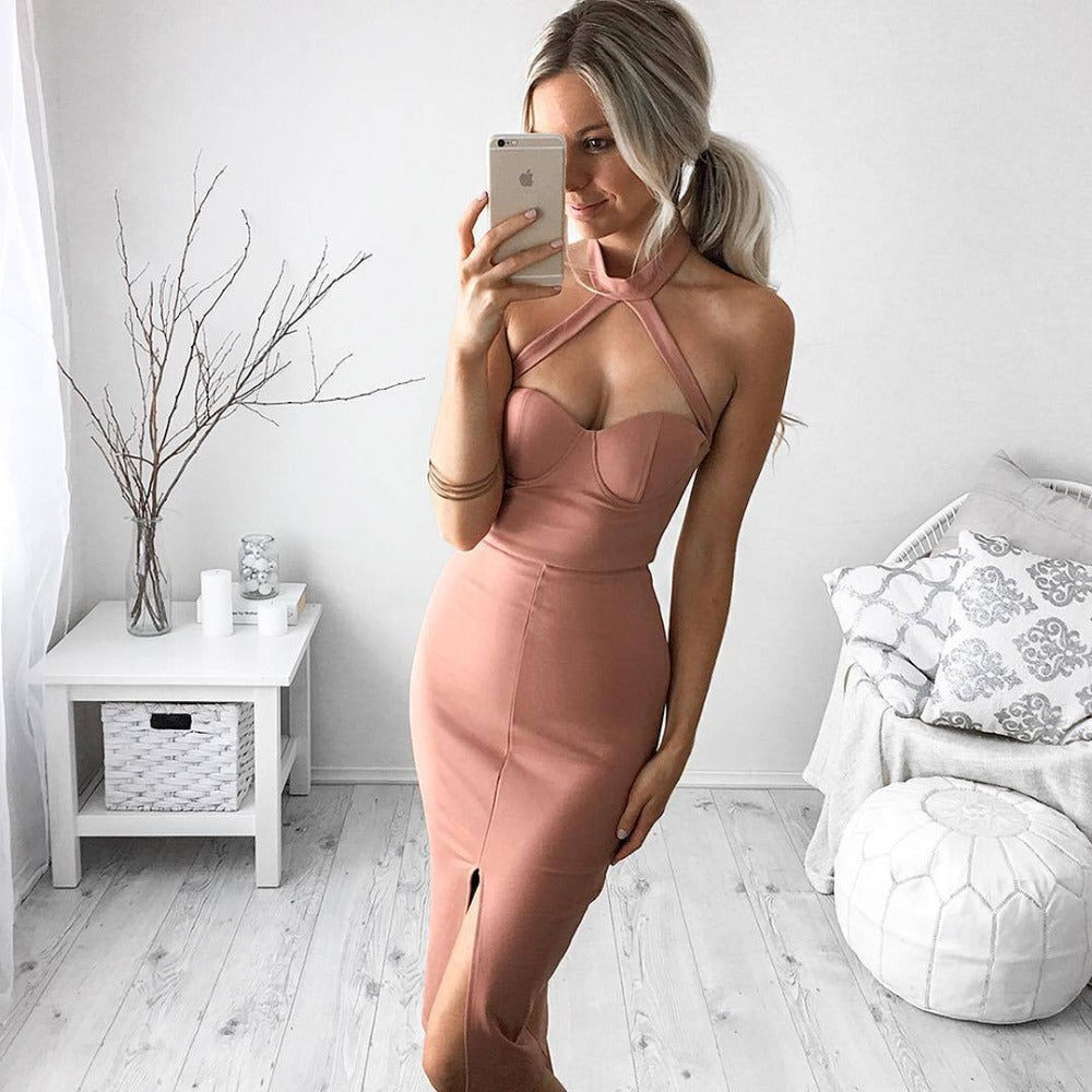 Halter Fashion Slim Bodycon Sleeveless Dress. (2 Colors Available)
