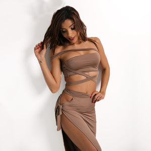 High Split Halter Hollow Out Bandage Two Piece Dress.