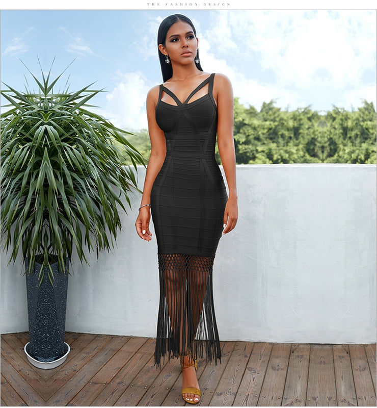 Fringe Tassel Sleeveless Bodycon Bandage Midi Dress. (4 Colors Available)