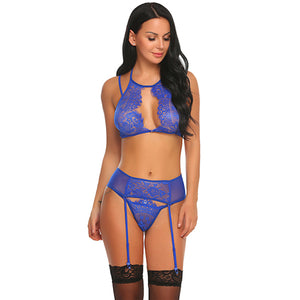 Lace Up Black Garter Lingerie Three Piece Set. (4 Colors Available)