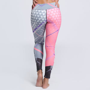 Multicolor Triangle Print Letter Striped Fitness Leggings. (Quick-Dry Sports Tights)