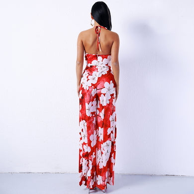 Backless Off Shoulder Deep-V Ruff Halter Flower Print Split Jumpsuit.