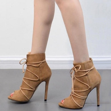 Cross-Tied Peep Toe Thin High Heel Pump Shoes.