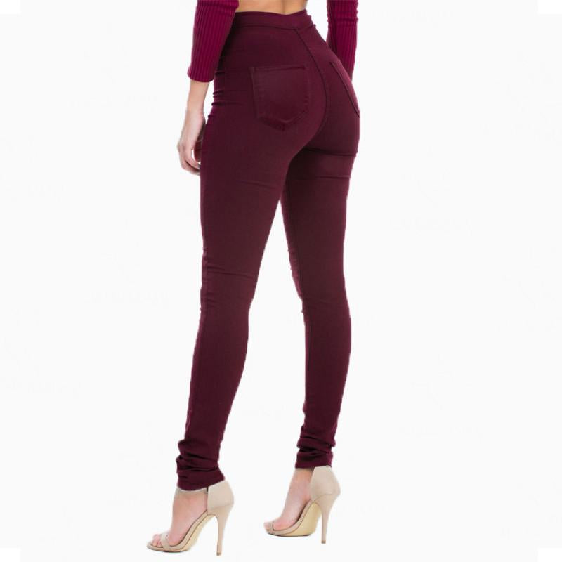 Elastic High Waisted  Skinny Burgundy Denim Jean Pants.