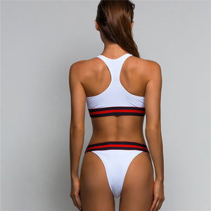 High Cut Striped Edge Sport Two Piece Bikini. (4 Colors Available)