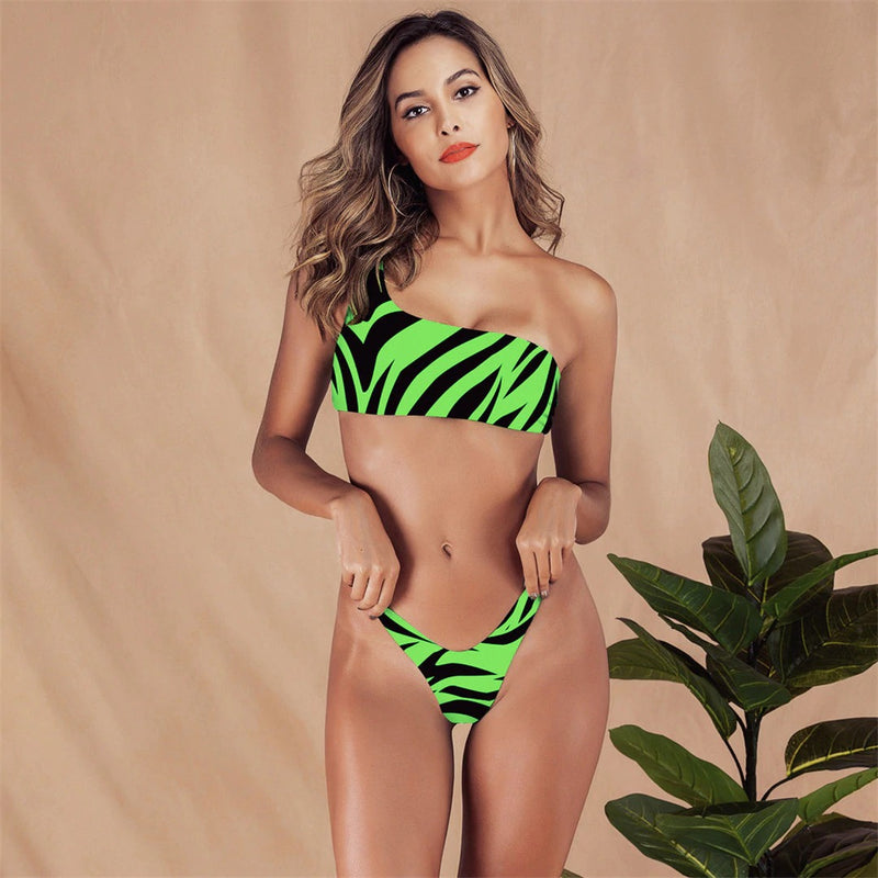 One Shoulder Zebra Printed Two Piece Bikini. (2 Colors Available)