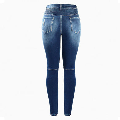 Skinny Mid Waist Biker Style Stretch Denim Jean Pants.