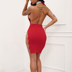Side Split Deep V-Neck Drilling Chain Backless Dress. (3 Colors Available)