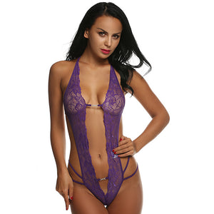 Deep V-Neck Open Front Lace Up Teddy. (8 Colors Available)