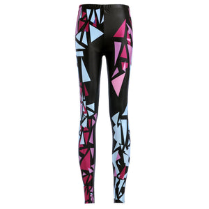 Irregular Triangle Digital Printing Fitness Leggings. (Pencil Style Sports Tights)