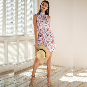 Sleeveless Floral Print Elastic Waist Boho Style Dress. (2 Colors Available)