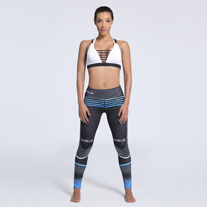 Gradient Stripe Print Elastic Fitness Leggings. (Quick-Dry Sports Tights)