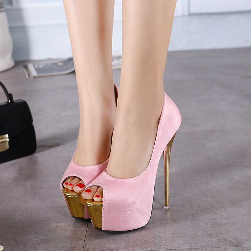 16cm Gold Thin Heel Stiletto Heeled Pumps. (3 Colors Available)