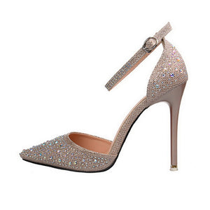 Rhinestone Crystal Pointed Toe High Heel Pumps. (6 Colors Available)