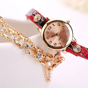 Leather Band Rhinestone Rivet Chain Bracelet Style WristWatch. (5 Colors Available)