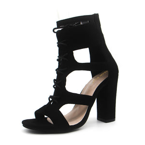 Lace-Up Strap Gladiator High Square Heel Sandals.