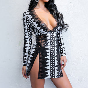 Halter Long Sleeve V-Neck Night Time Bodycon Dress.