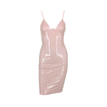 PU Leather V-Neck Back Zipper Bodycon Mini Dress. (3 Colors Available)