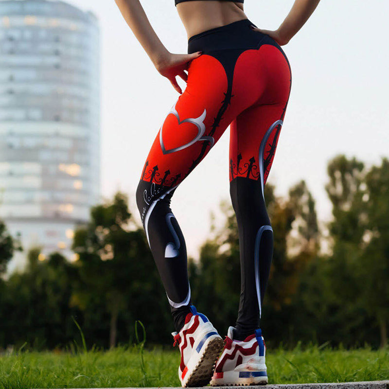Heart Print Patchwork Fitness Leggings. (Quick-Dry Sports Tights)