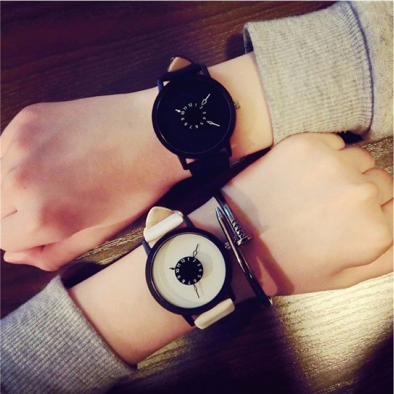 Leather Wristband Shock Resistant Stainless Steel Designer Watch.