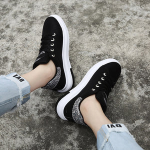 Cotton Fabric Lace-Up Round Toe Sequined Sneakers. (4 Colors Available)