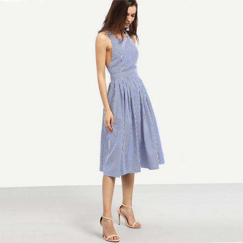 Blue Striped Square Neck Crisscross Back A-Line Dress.