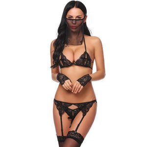 Patchwork Baby-Doll Lace Up 5 Piece Lingerie Set. (3 Colors Available)