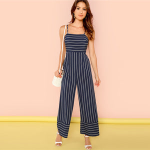 Sleeveless Spaghetti Strap Navy Striped Jumpsuit.