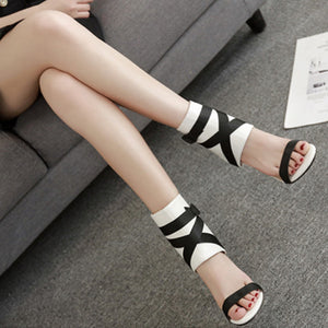 Thin Heel Buckle Strap Gladiator Sandals. (3 Colors Available)