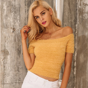 Off Shoulder Short Sleeve Knitted Crop Top. (3 Colors Available)