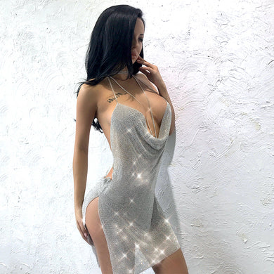 Backless Side Slit Halter Diamond Shine Dress. (2 Colors Available)