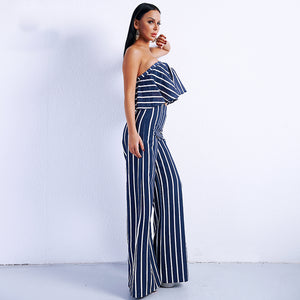 Full Length Off Shoulder Striped Overall Two Piece Jumpsuit.