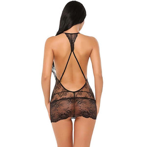 Halter Lace See Through Mini Lingerie 2Pcs Set. (5 Colors Available)