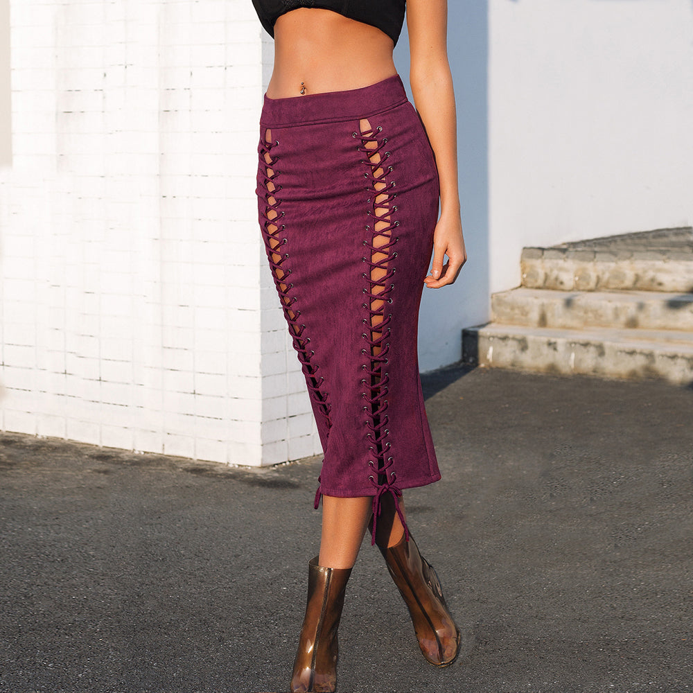 Back Split Lace Up Suede Leather Bodycon High Waist Midi Skirt. (4 Colors Available)