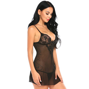 Spaghetti Strap Babydoll Lace Two Piece Set. (4 Colors Available)