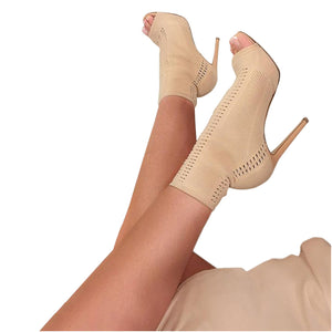 Elastic Open Toe Hollow Out Breathable Pumps. (3 Colors Available)