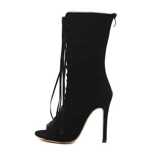 Cross Strap Peep Toe Stiletto Gladiator Boots.