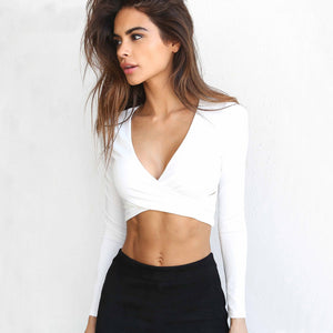 Long Sleeve Cross Trend V-Neck Crop Top. (4 Colors Available)