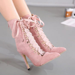 Faux Suede Gladiator Pointed Toe Lace Up Stiletto High Heel Boots.